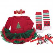 BabyPreg Baby Girls My First Christmas, Baby Santa Christmas Costume Outfit Set B
